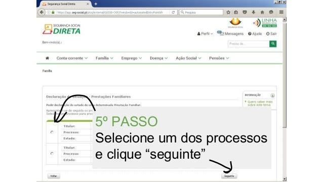 """5º PASSO Selecione um dos processos e clique """"seguinte"""""""