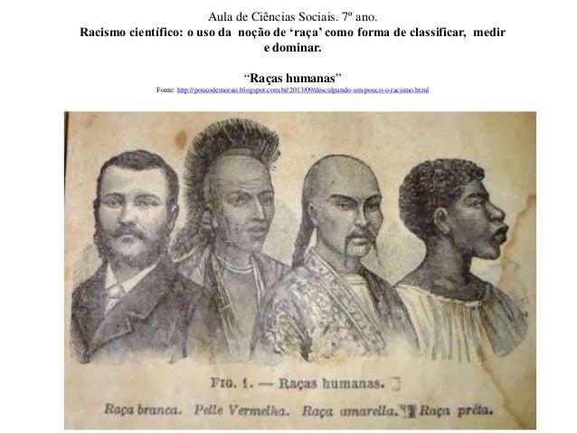 Aula de Ciências Sociais. 7º ano.  Racismo científico: o uso da noção de 'raça' como forma de classificar, medir  e domina...