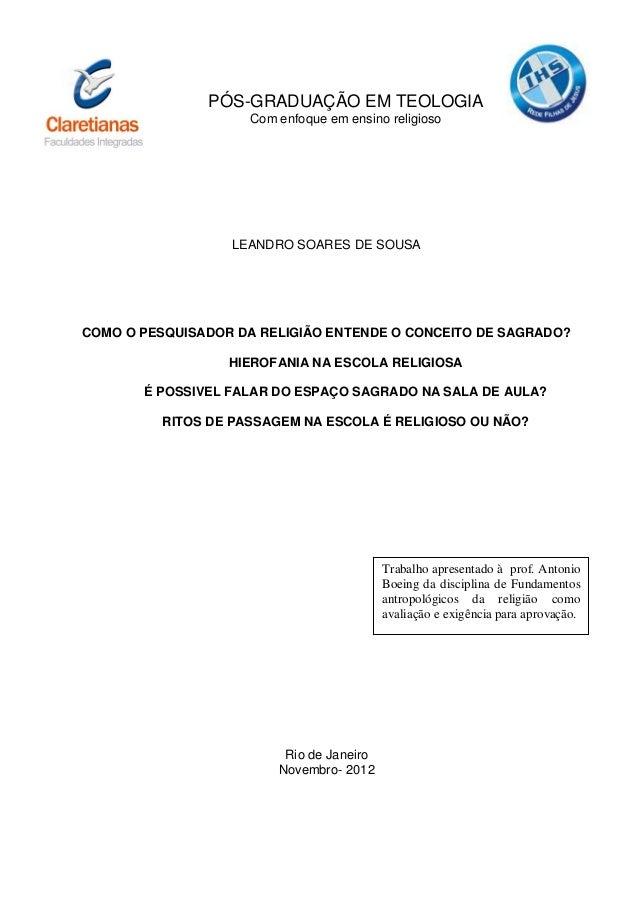 1               PÓS-GRADUAÇÃO EM TEOLOGIA                     Com enfoque em ensino religioso                  LEANDRO SOA...