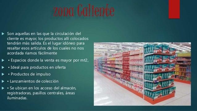 zona Caliente  Son aquellas en las que la circulación del cliente es mayor, los productos allí colocados tendrán más sali...