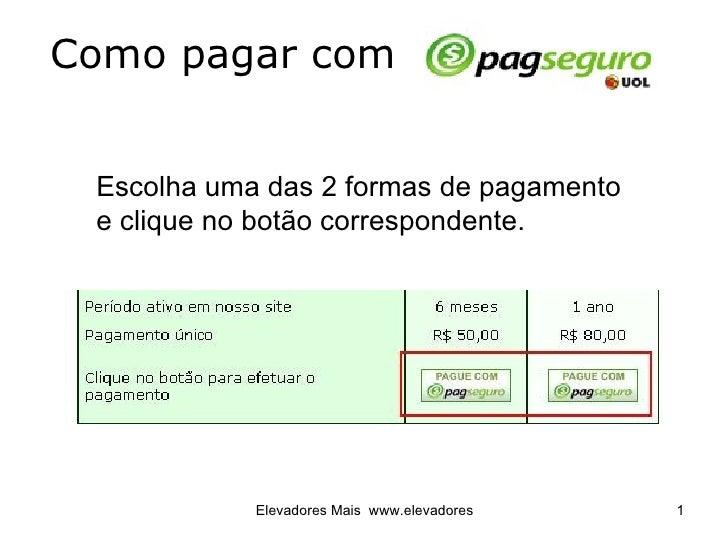 Como pagar com  Escolha uma das 2 formas de pagamento  e clique no botão correspondente.