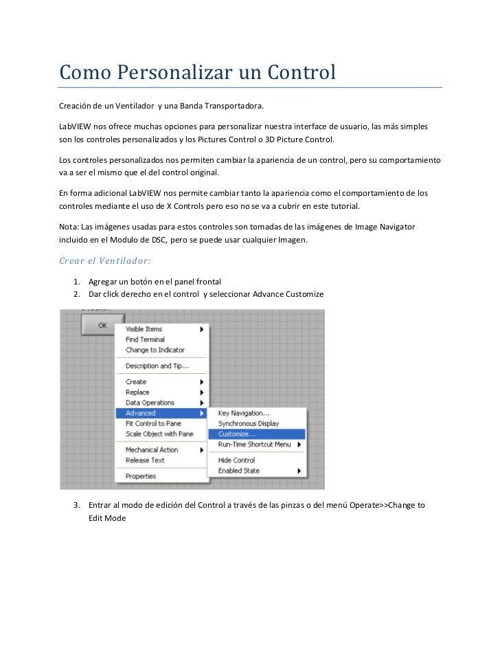 Como Personalizar un ControlCreación de un Ventilador y una Banda Transportadora.LabVIEW nos ofrece muchas opciones para p...