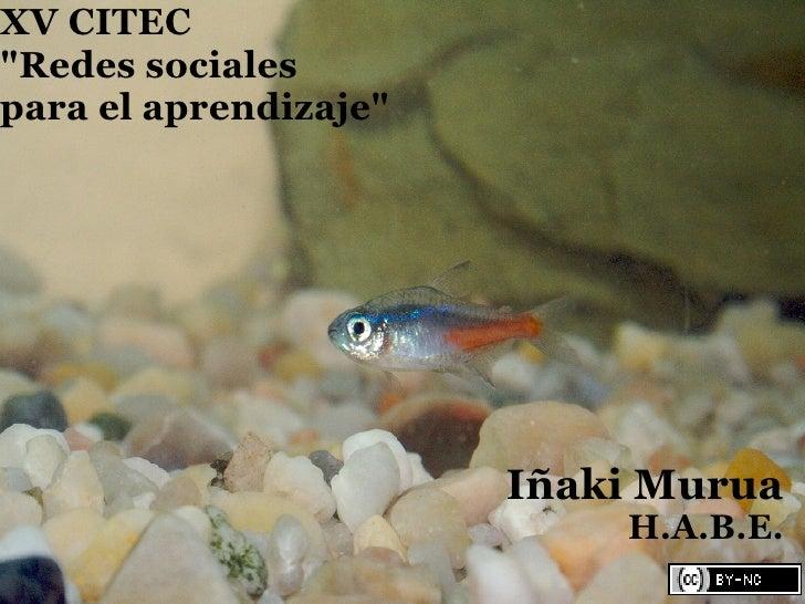 """XV CITEC """"Redes sociales para el aprendizaje""""                            Iñaki Murua                            H.A.B.E."""