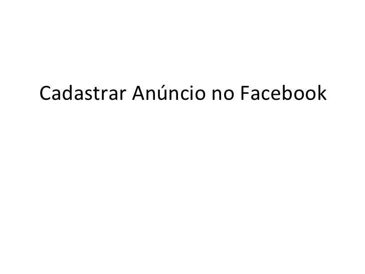 Cadastrar Anúncio no Facebook