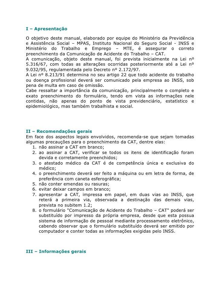 I – ApresentaçãoO objetivo deste manual, elaborado por equipe do Ministério da Previdênciae Assistência Social – MPAS, Ins...