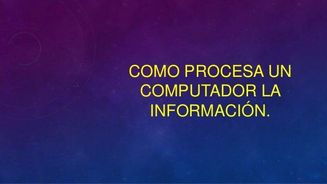 COMO PROCESA UN COMPUTADOR LA  INFORMACIÓN.