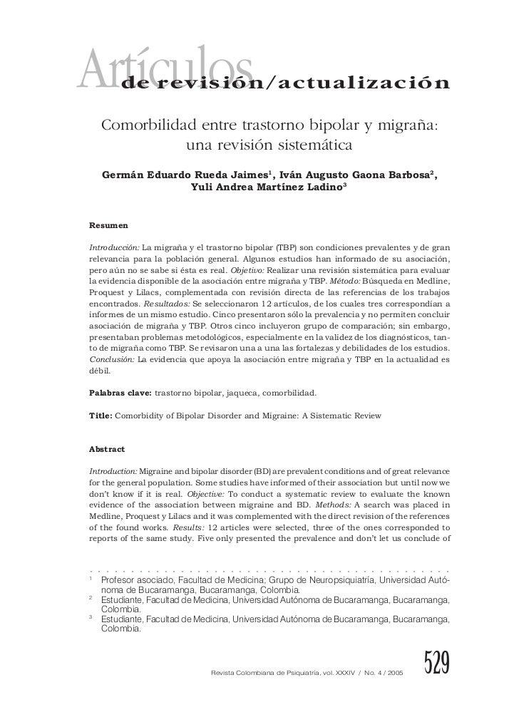 Artículos        de revisión/actualización        Comorbilidad entre trastorno bipolar y migraña:                   una re...