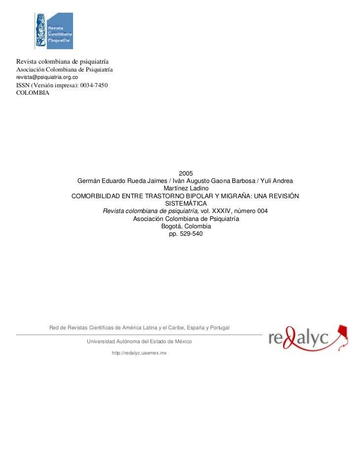 Revista colombiana de psiquiatríaAsociación Colombiana de Psiquiatríarevista@psiquiatria.org.coISSN (Versión impresa): 003...