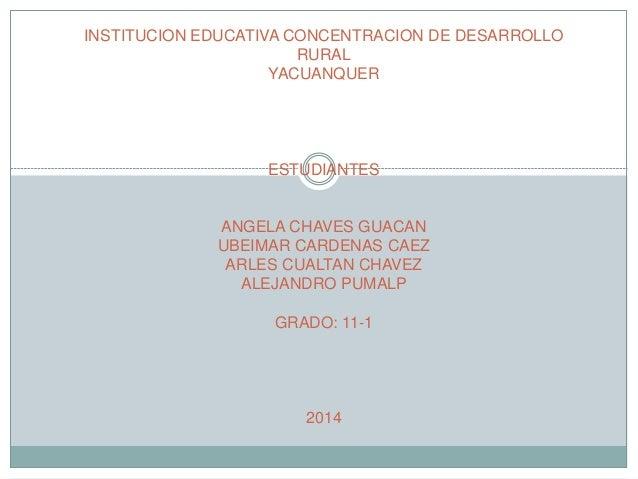 INSTITUCION EDUCATIVA CONCENTRACION DE DESARROLLO  RURAL  YACUANQUER  ESTUDIANTES  ANGELA CHAVES GUACAN  UBEIMAR CARDENAS ...