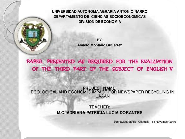 UNIVERSIDAD AUTONOMA AGRARIA ANTONIO NARRO          DEPARTAMENTO DE CIENCIAS SOCIOECONOMICAS                     DIVISION ...