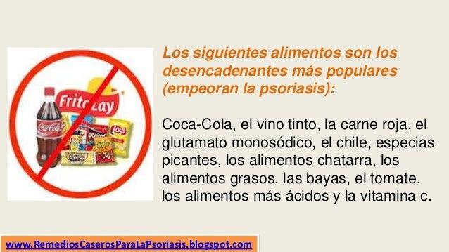 Los siguientes alimentos son los desencadenantes más populares (empeoran la psoriasis): Coca-Cola, el vino tinto, la carne...