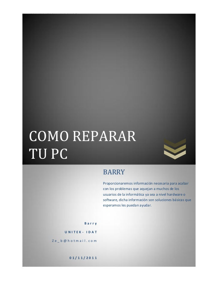 SOLUCIONES EN WINDOWS 7COMO REPARARTU PC                                  BARRY                                  Proporcio...