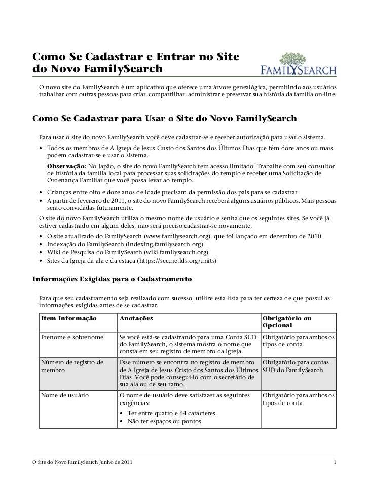 Como Se Cadastrar e Entrar no Sitedo Novo FamilySearch  O novo site do FamilySearch é um aplicativo que oferece uma árvore...