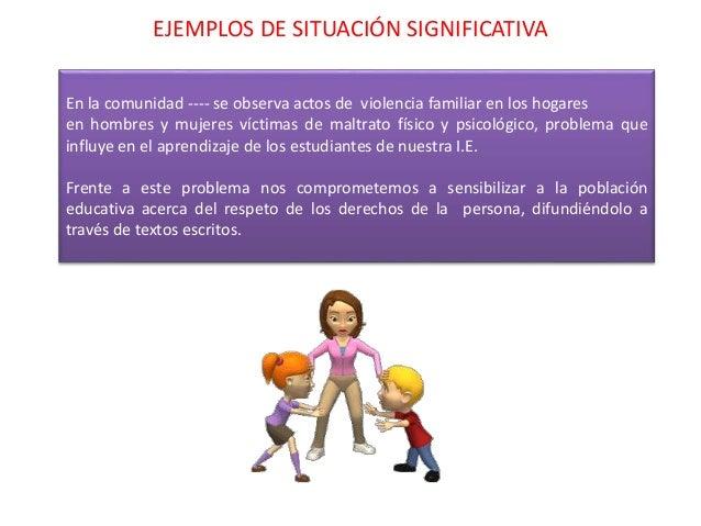 EJEMPLOS DE SITUACIÓN SIGNIFICATIVA En la comunidad ---- se observa actos de violencia familiar en los hogares en hombres ...