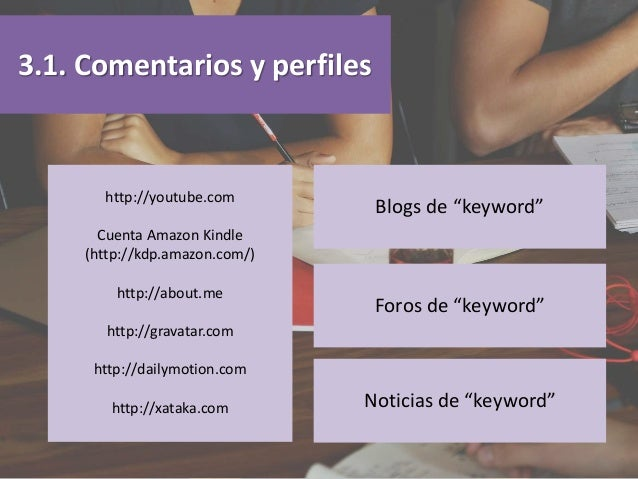 3.1. Comentarios y perfiles http://youtube.com Cuenta Amazon Kindle (http://kdp.amazon.com/) http://about.me http://gravat...
