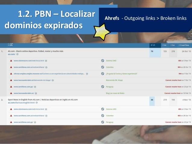 1.2. PBN – Localizar dominios expirados Ahrefs - Outgoing links > Broken links