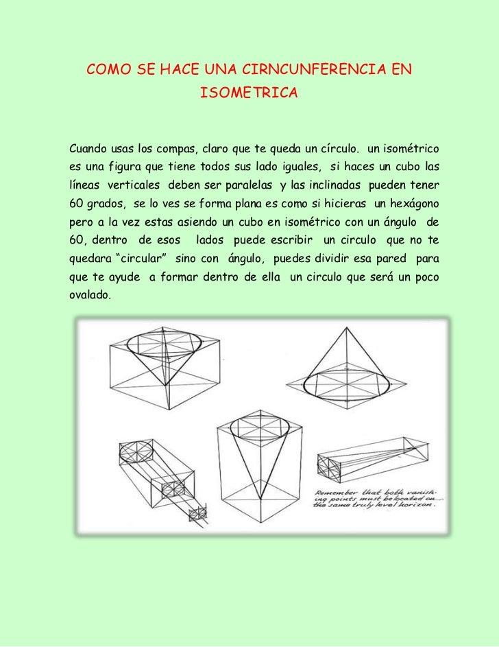 Como se hace una cirncunferencia en isometrica