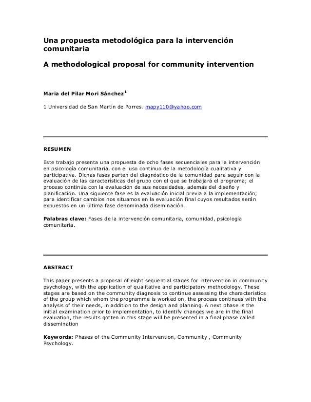 Una propuesta metodológica para la intervencióncomunitariaA methodological proposal for community interventionMaria del Pi...