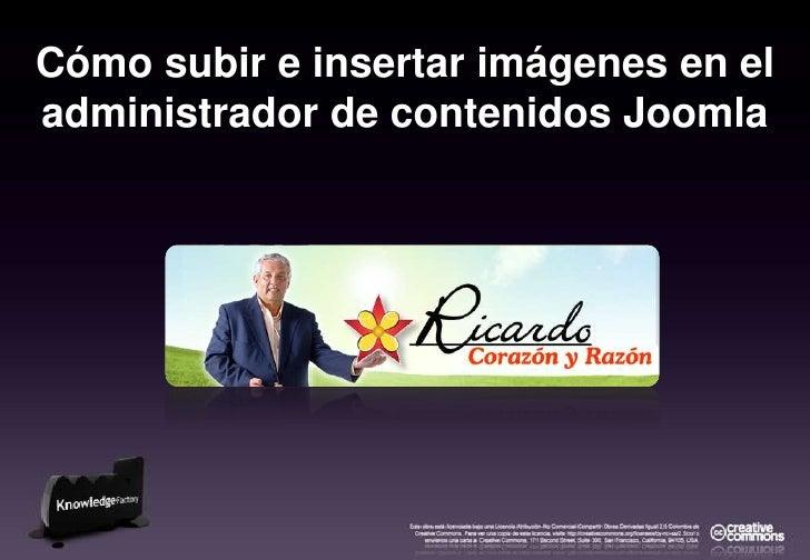 Cómo subir e insertar imágenes en el administrador de contenidos Joomla<br />
