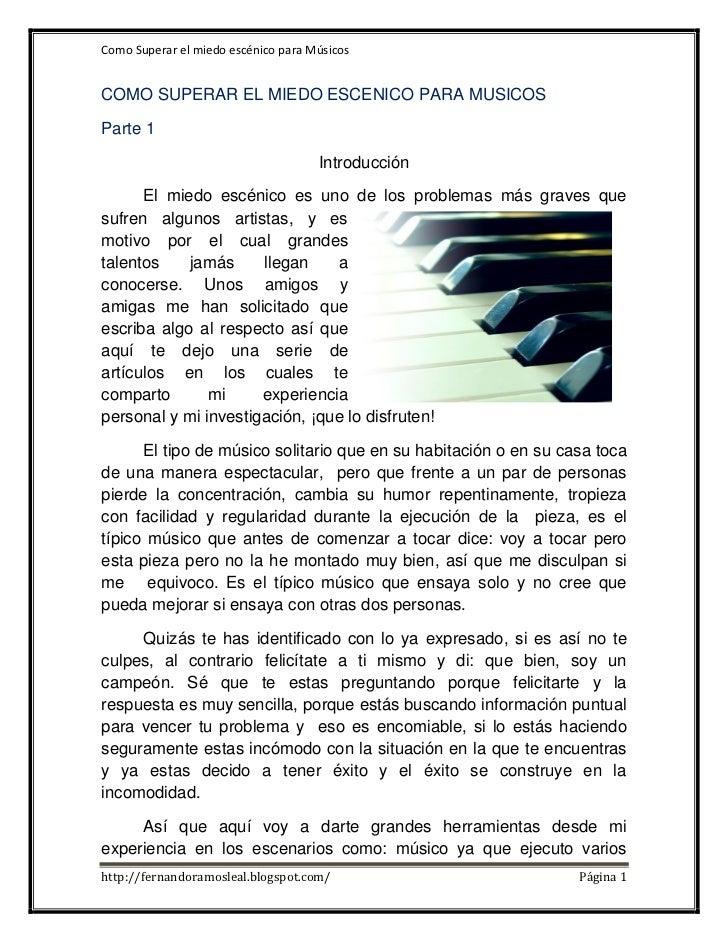 Como Superar el miedo escénico para MúsicosCOMO SUPERAR EL MIEDO ESCENICO PARA MUSICOSParte 1                             ...