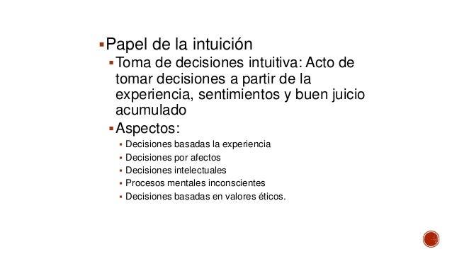 Papel de la intuición Toma de decisiones intuitiva: Acto de tomar decisiones a partir de la experiencia, sentimientos y ...