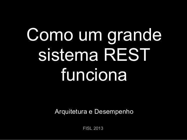 Como um grande sistema REST funciona Arquitetura e Desempenho FISL 2013