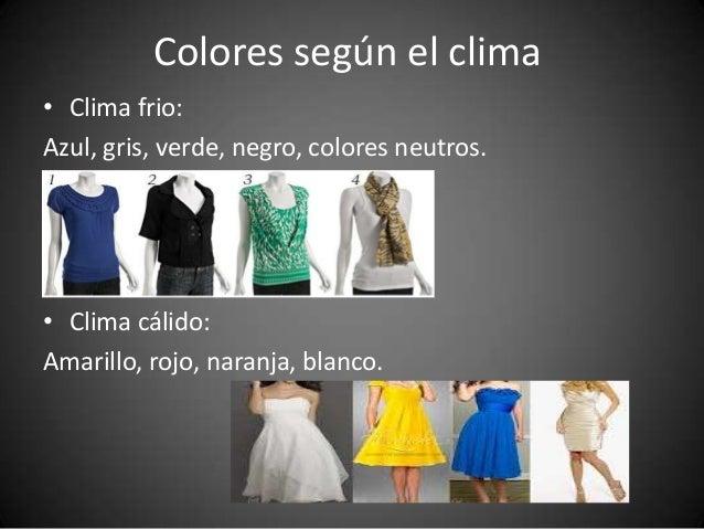 Colores según el clima • Clima frio: Azul, gris, verde, negro, colores neutros.  • Clima cálido: Amarillo, rojo, naranja, ...