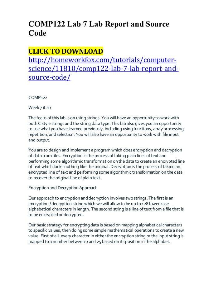 COMP122 Lab 7 Lab Report and SourceCodeCLICK TO DOWNLOADhttp://homeworkfox.com/tutorials/computer-science/11810/comp122-la...