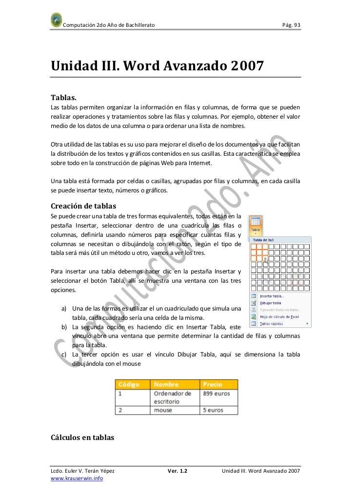 Computación 2do Año de Bachillerato                                                   Pág. 93Unidad III. Word Avanzado 200...