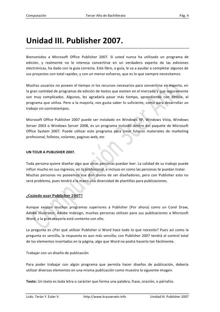 Computación                          Tercer Año de Bachillerato                                 Pág. 4Unidad III. Publishe...