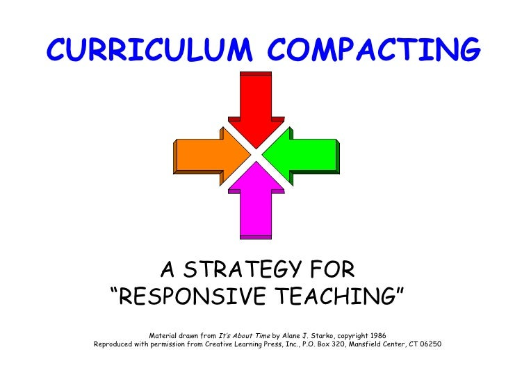 """CURRICULUM COMPACTING A STRATEGY FOR """"RESPONSIVE TEACHING"""" Material drawn from  It's About Time  by Alane J. Starko, copyr..."""