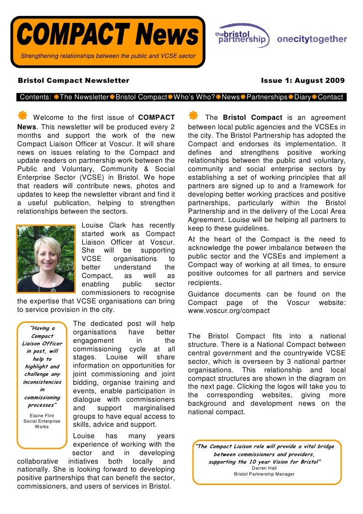 Strengthening relationships between the public and VCSE sector    Bristol Compact Newsletter                              ...