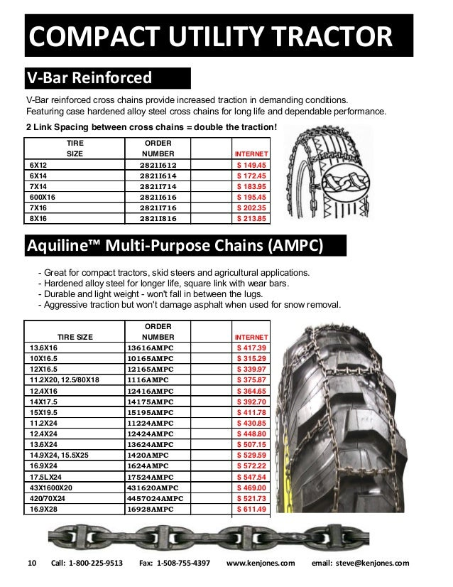 Tire Size Explained >> 2017 Compact Tractor Tire Chains Catalog