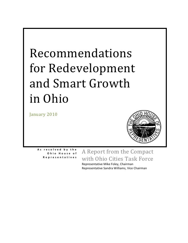 Recommendations for Redevelopment and Smart Growth in Ohio January 2010        As resolved by the         Ohio House of   ...