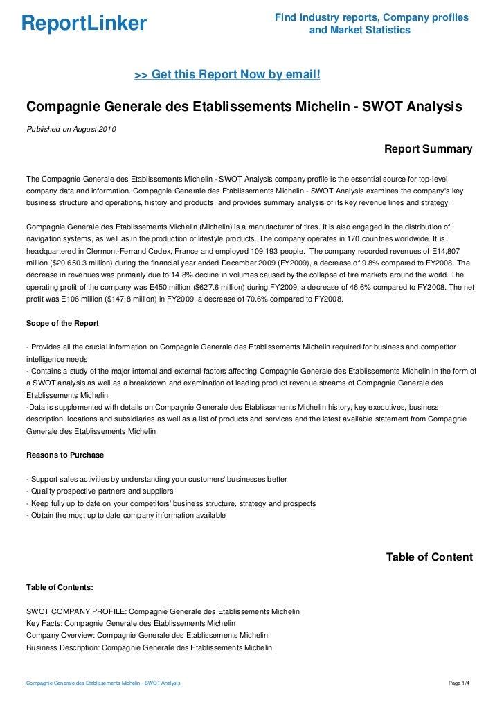 Michelin SWOT Analysis, Competitors & USP