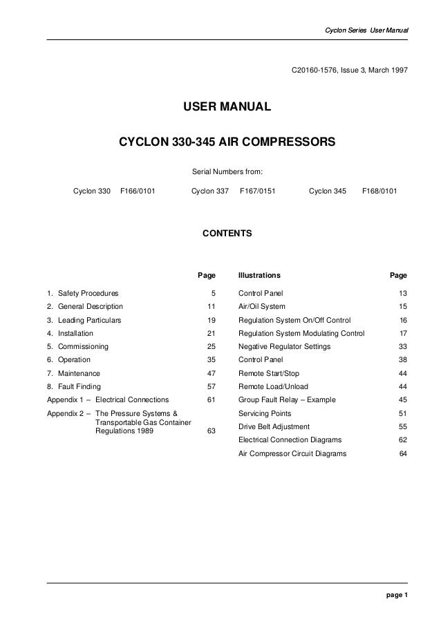 Compair Cyclon 3 Air Compressor User Manual Parts Supplier