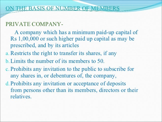 ON THE BASIS OF CONTROL Holding companies-     A company is known as the holding company of another company if it has the ...