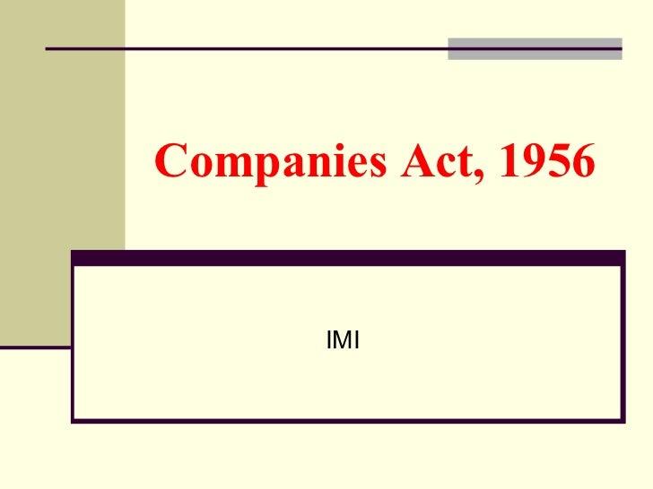Companies Act, 1956 IMI