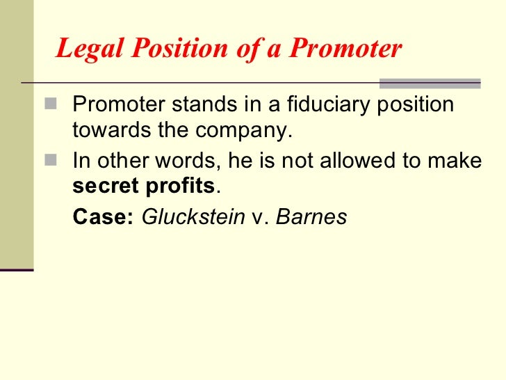 promoter of a company definition