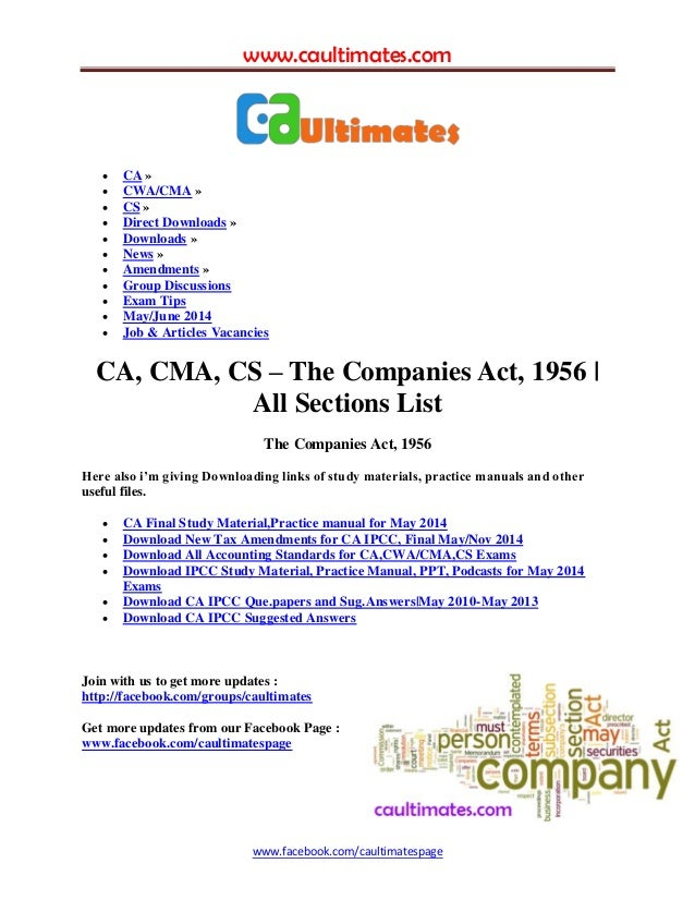 Companies act 1956 all sections list