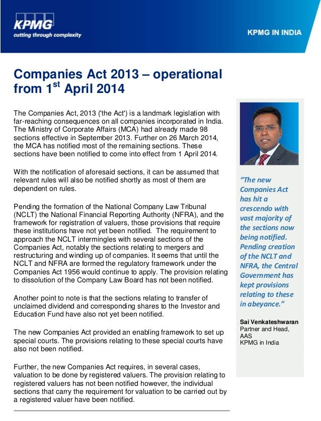 1 Barboza, Melvin From: IN-FM Company Act Core Team Subject: Companies Act 2013 – operational from 1st April 2014 Attachme...