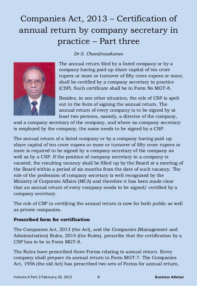 Companies Act 2013 Certification Of Annual Return By Company Secre