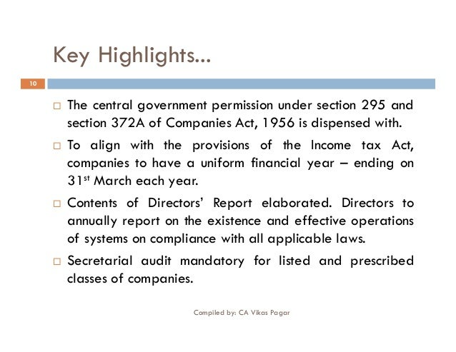 companies act highlights Highlights of the companies (amendment) bill, 2017 please wait  the companies (amendment) bill, 2017 , which is aimed at making some major changes to the companies act, 2013, was passed in lok sabha, rajya sabha by voice vote.