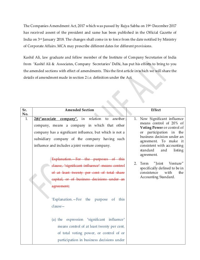 Companies Amendment Act 2017 Amended Sections With Analysis