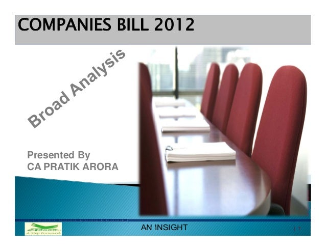 COMPANIES BILL 2012Presented ByCA PRATIK ARORA                                     All rights reserved                  AN...