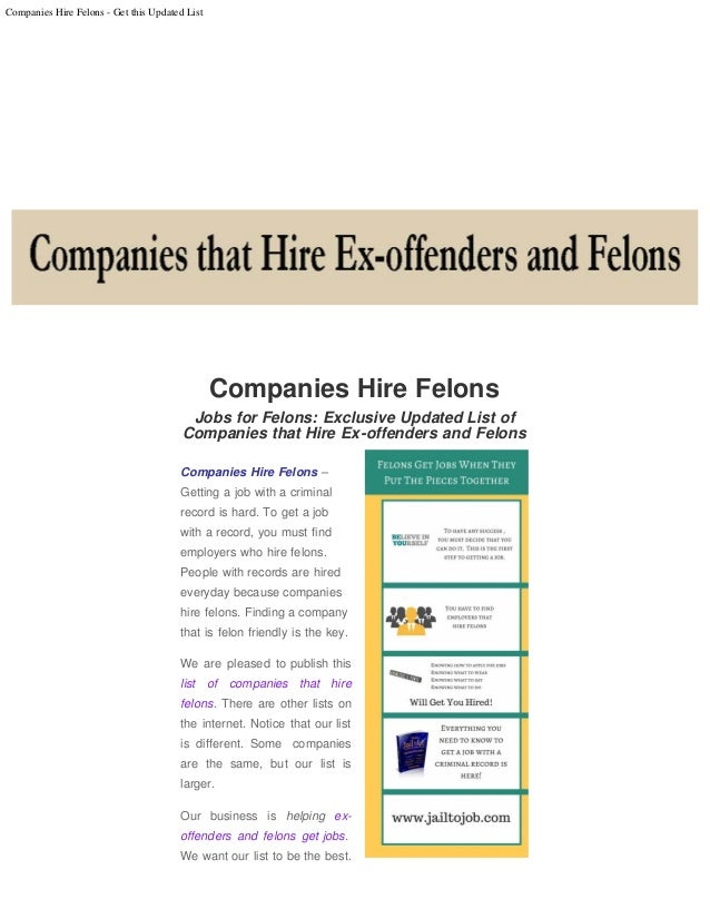 Jobs for Ex-offenders and Felons: Updated list of companies that hire…