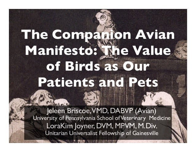 The Companion Avian Manifesto: The Value of Birds as Our Patients and Pets Jeleen Briscoe,VMD, DABVP (Avian) University of...