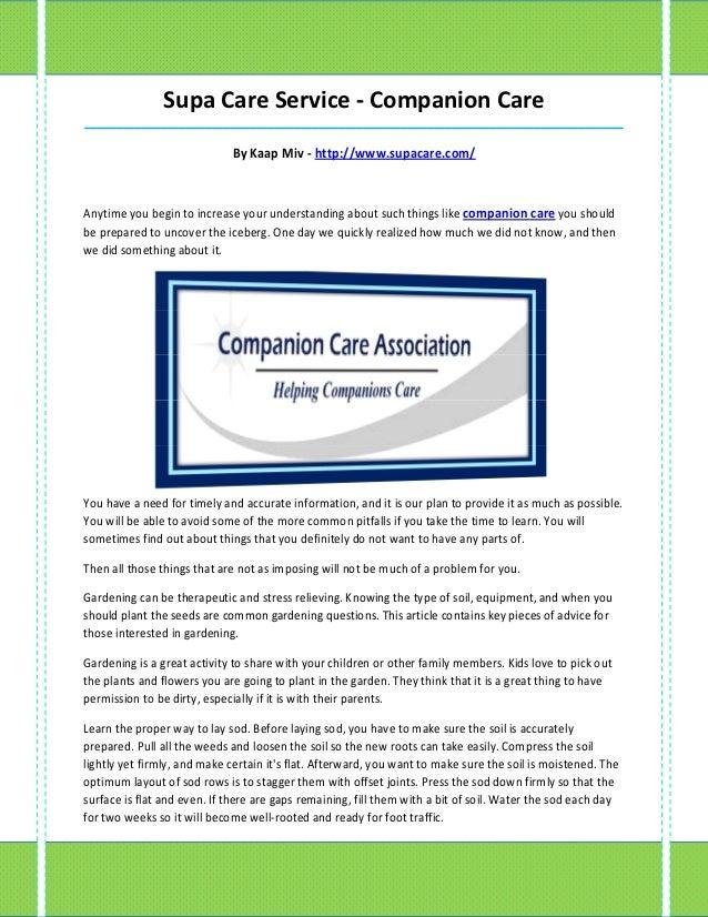 Supa Care Service - Companion Care_____________________________________________________________________________________   ...