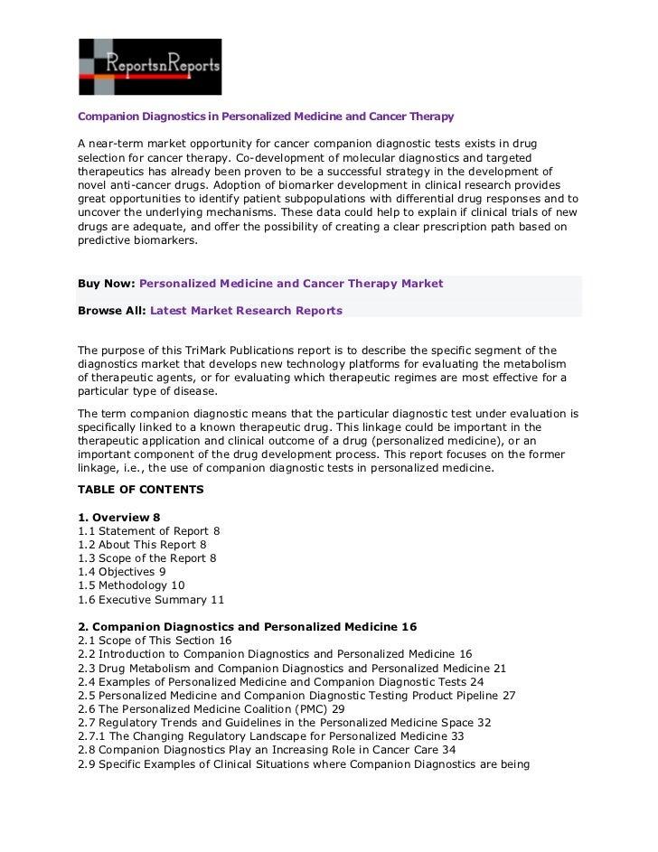 Companion Diagnostics in Personalized Medicine and Cancer TherapyA near-term market opportunity for cancer companion diagn...