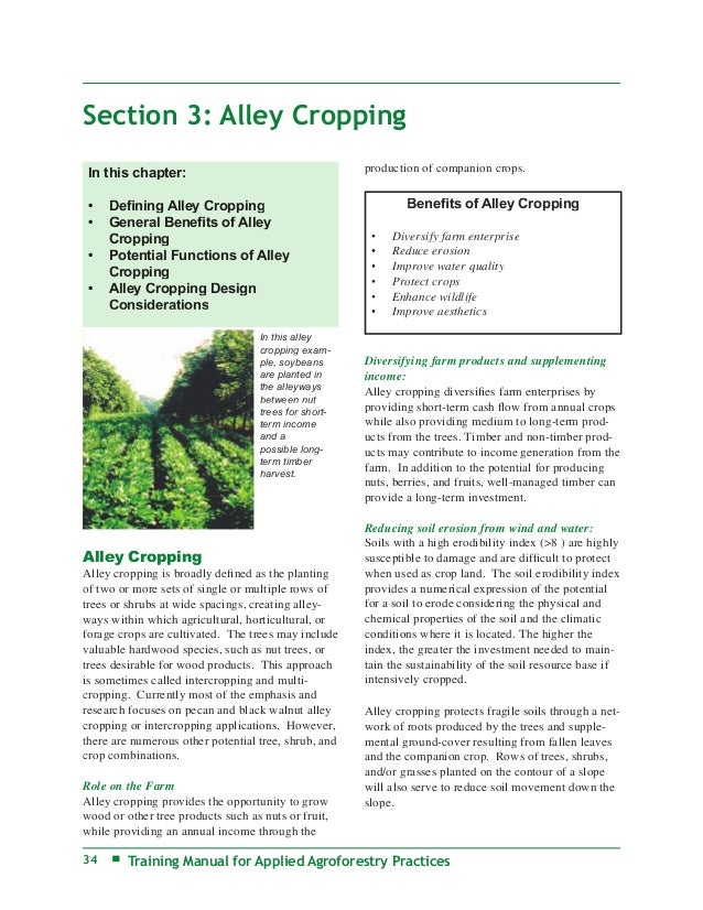 Section 3: Alley Cropping In this chapter:                                      production of companion crops. •   Defining...
